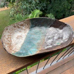 Turquoise, Liquorice and pale blue platter. handmade ceramic platter
